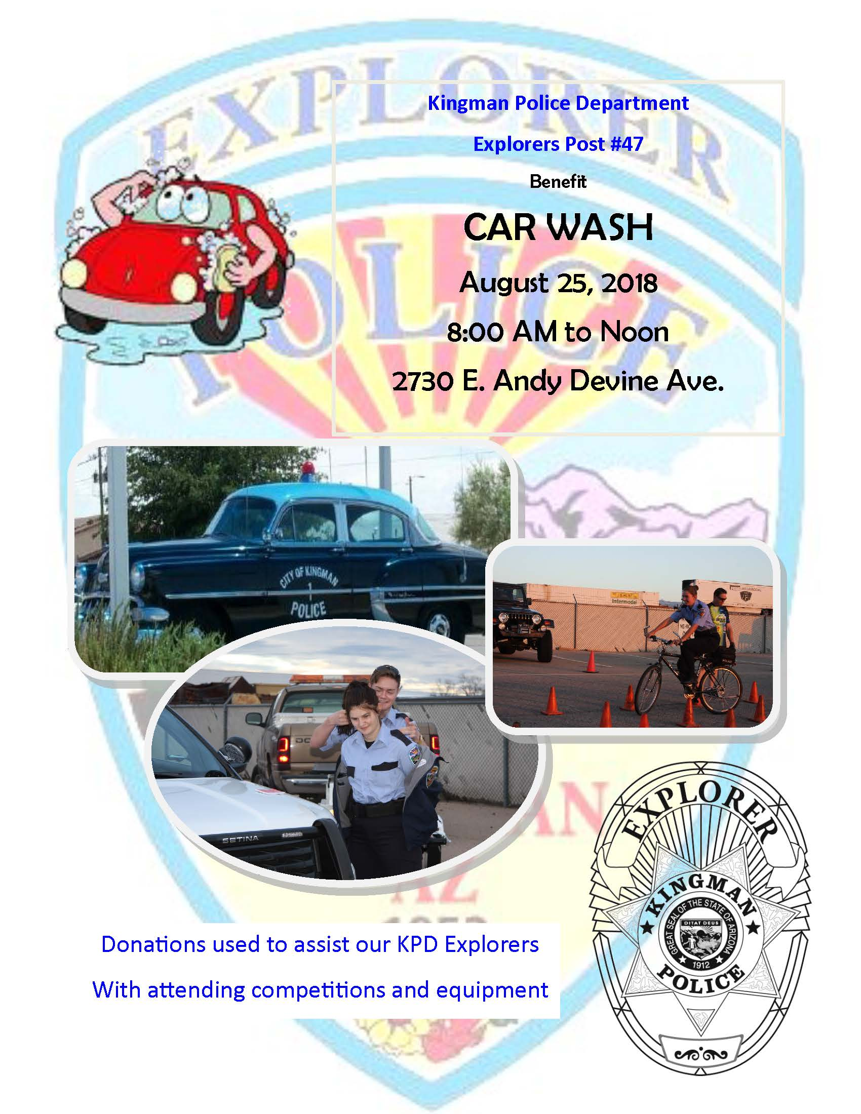 Benefit Car Wash, August 25, 2018, 8 am to noon at 2730 East Andy Devine Avenue