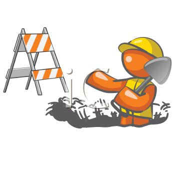 Worker Digging Up the Street clipart