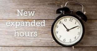 New Expanded Hours Image with a clock