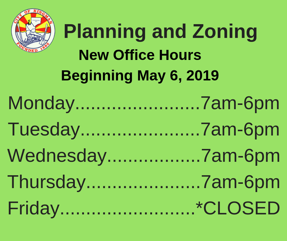 New Planning and Zoning Office Hours