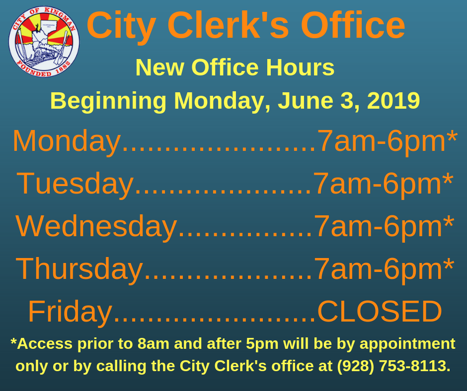 Extended Service Hours - City Clerk's Office