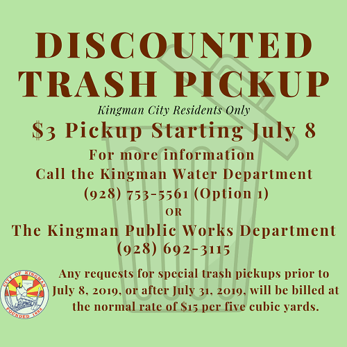 $3 Trash Pickup Starting July 8
