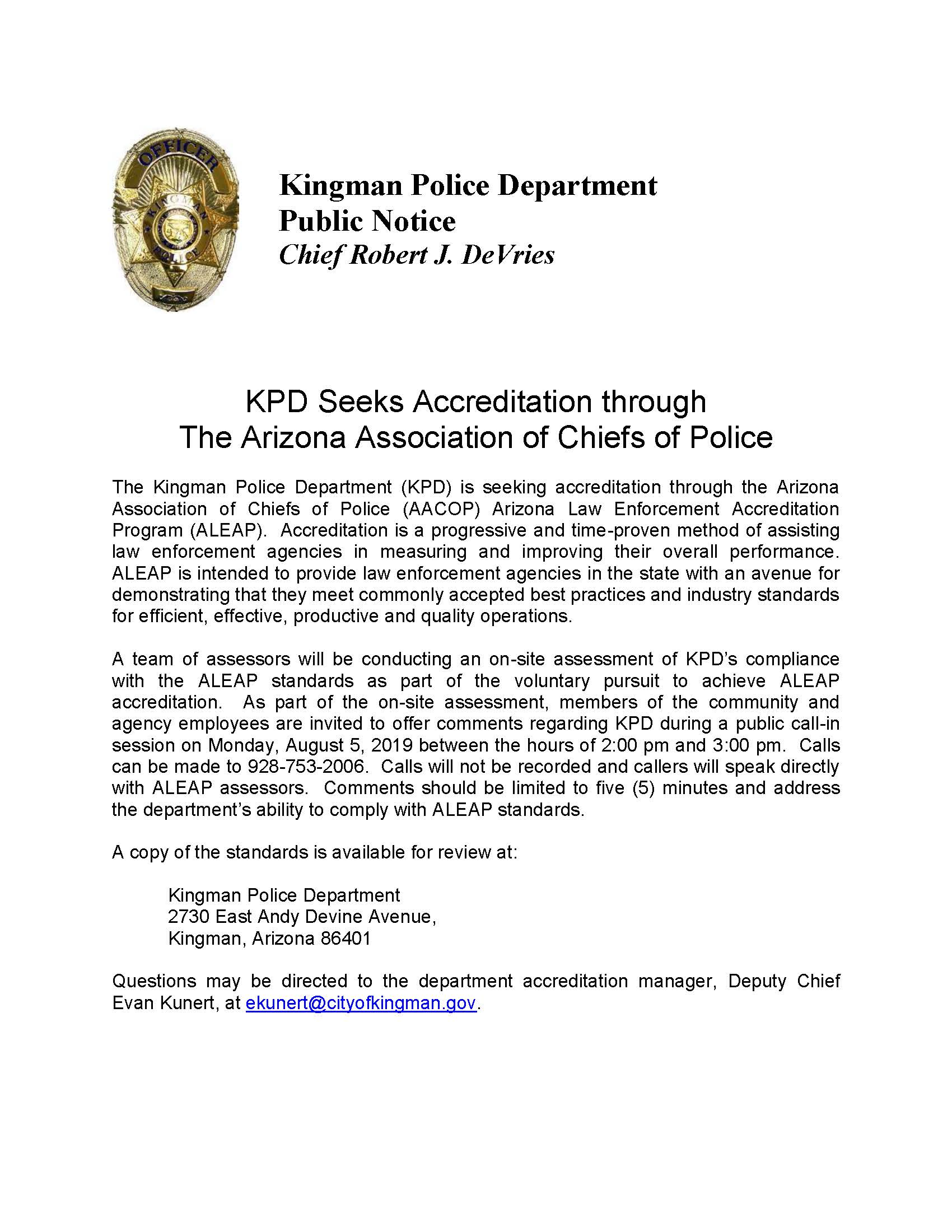 KPD Seeks Accreditation through The Arizona Association of Chiefs of Police