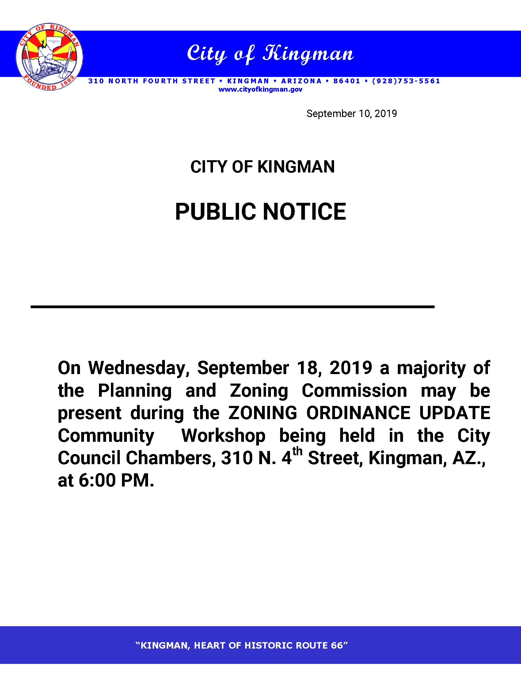 Zoning Ordinance Community Workshop quorum notice