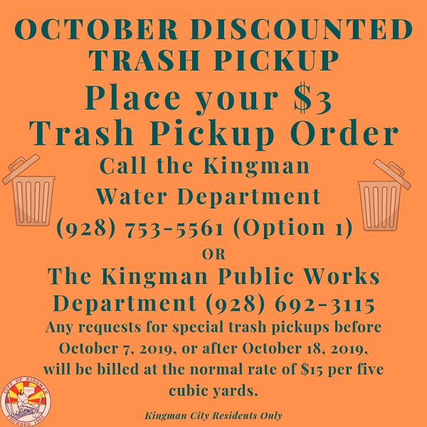 $3 Trash Pickup Starting October 7