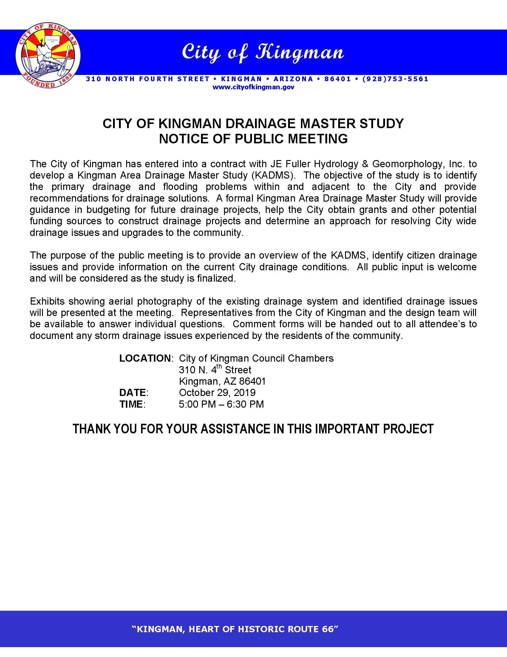 City of Kingman Drainage Master Study Public Meeting