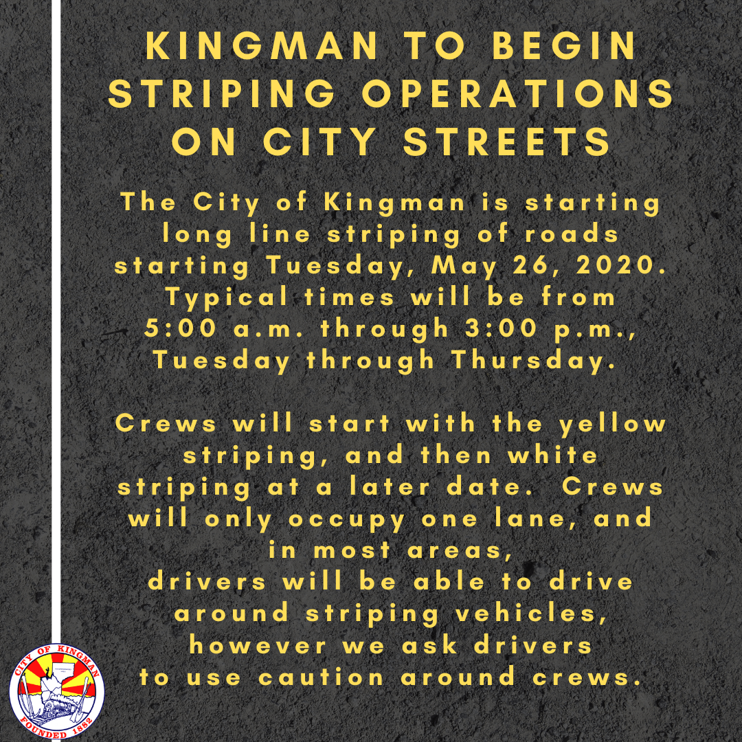 Kingman to Begin Striping Operations on City Streets