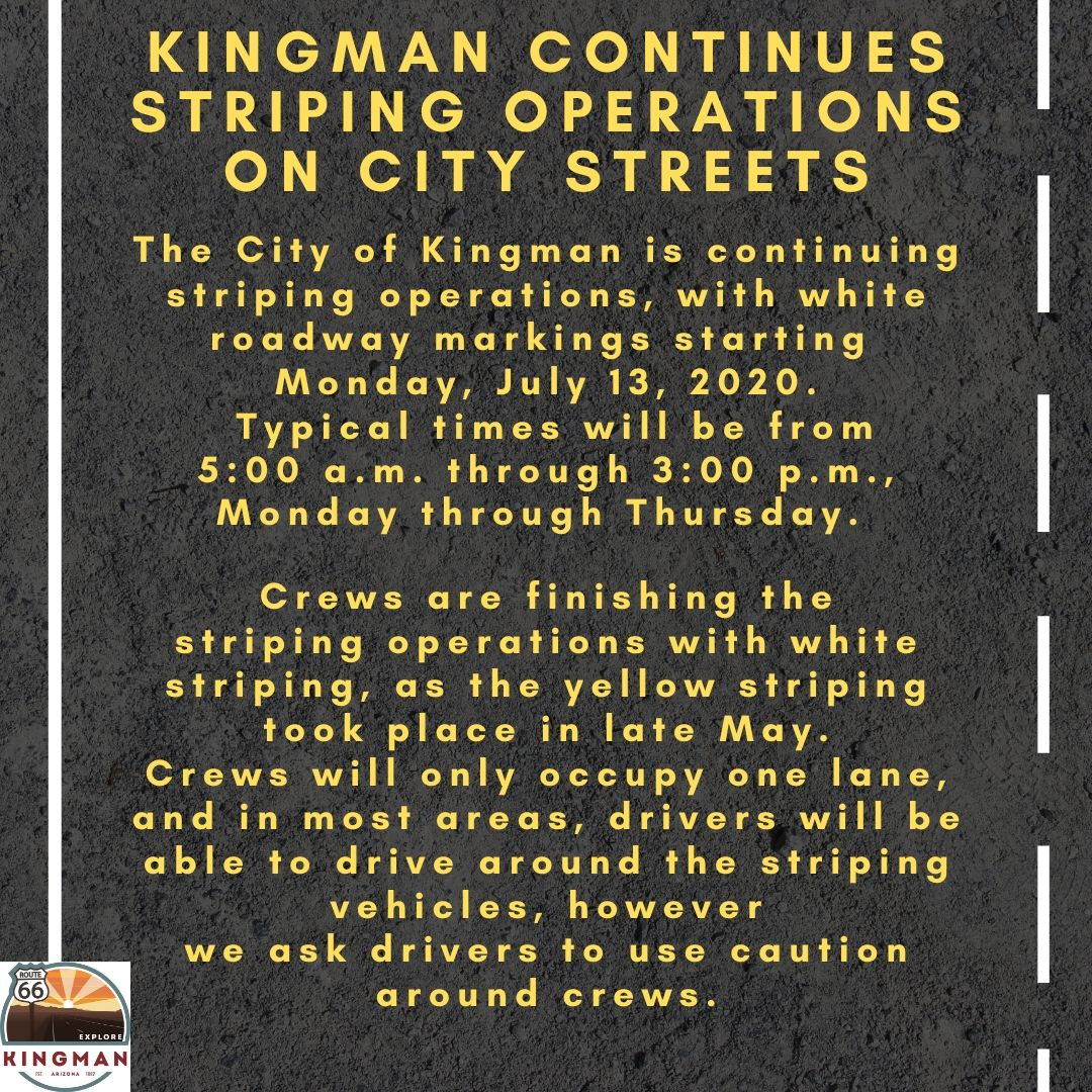 Kingman Continues Striping Operations on City Streets